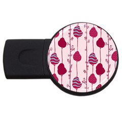 Flower Floral Mpink Frame Usb Flash Drive Round (4 Gb) by Mariart