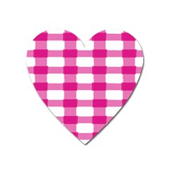 Hot Pink Brush Stroke Plaid Tech White Heart Magnet by Mariart