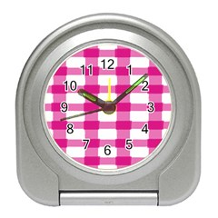 Hot Pink Brush Stroke Plaid Tech White Travel Alarm Clocks by Mariart