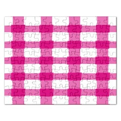 Hot Pink Brush Stroke Plaid Tech White Rectangular Jigsaw Puzzl by Mariart