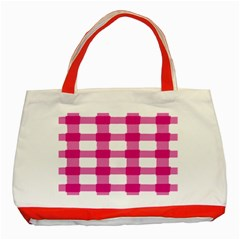 Hot Pink Brush Stroke Plaid Tech White Classic Tote Bag (red) by Mariart