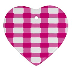 Hot Pink Brush Stroke Plaid Tech White Heart Ornament (two Sides) by Mariart