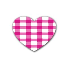 Hot Pink Brush Stroke Plaid Tech White Rubber Coaster (heart)  by Mariart