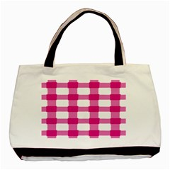 Hot Pink Brush Stroke Plaid Tech White Basic Tote Bag (two Sides) by Mariart