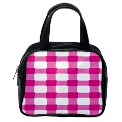 Hot Pink Brush Stroke Plaid Tech White Classic Handbags (one Side) by Mariart