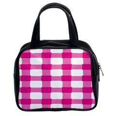 Hot Pink Brush Stroke Plaid Tech White Classic Handbags (2 Sides) by Mariart