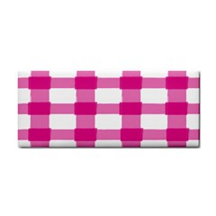 Hot Pink Brush Stroke Plaid Tech White Cosmetic Storage Cases by Mariart