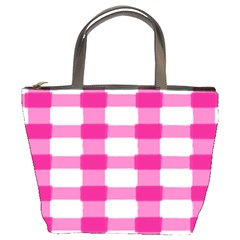 Hot Pink Brush Stroke Plaid Tech White Bucket Bags by Mariart