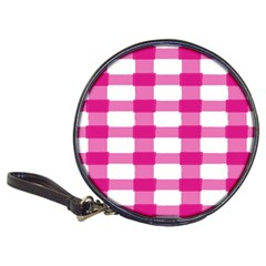 Hot Pink Brush Stroke Plaid Tech White Classic 20 Cd Wallets by Mariart