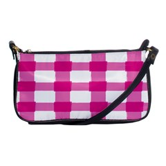 Hot Pink Brush Stroke Plaid Tech White Shoulder Clutch Bags