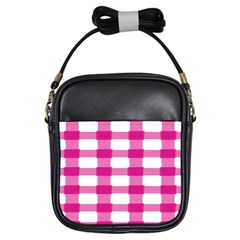 Hot Pink Brush Stroke Plaid Tech White Girls Sling Bags by Mariart