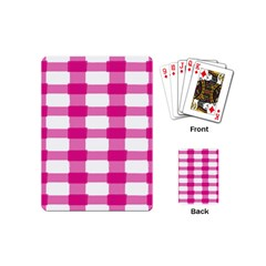 Hot Pink Brush Stroke Plaid Tech White Playing Cards (mini)  by Mariart