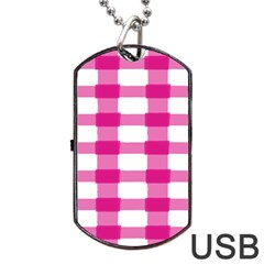 Hot Pink Brush Stroke Plaid Tech White Dog Tag Usb Flash (one Side) by Mariart
