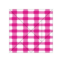 Hot Pink Brush Stroke Plaid Tech White Acrylic Tangram Puzzle (4  X 4 ) by Mariart