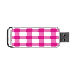 Hot Pink Brush Stroke Plaid Tech White Portable Usb Flash (two Sides) by Mariart