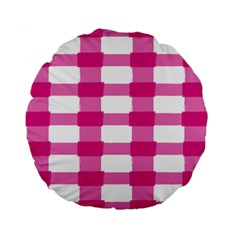 Hot Pink Brush Stroke Plaid Tech White Standard 15  Premium Round Cushions by Mariart
