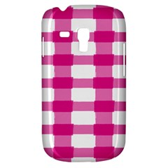 Hot Pink Brush Stroke Plaid Tech White Galaxy S3 Mini by Mariart