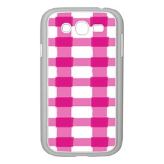 Hot Pink Brush Stroke Plaid Tech White Samsung Galaxy Grand Duos I9082 Case (white) by Mariart