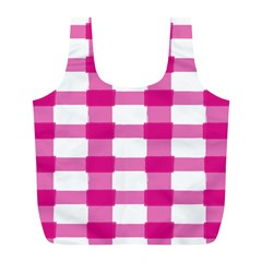 Hot Pink Brush Stroke Plaid Tech White Full Print Recycle Bags (l)