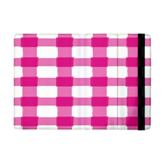 Hot Pink Brush Stroke Plaid Tech White Ipad Mini 2 Flip Cases by Mariart