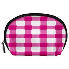 Hot Pink Brush Stroke Plaid Tech White Accessory Pouches (large)  by Mariart