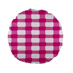 Hot Pink Brush Stroke Plaid Tech White Standard 15  Premium Flano Round Cushions by Mariart