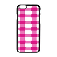 Hot Pink Brush Stroke Plaid Tech White Apple Iphone 6/6s Black Enamel Case by Mariart