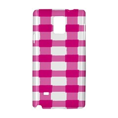 Hot Pink Brush Stroke Plaid Tech White Samsung Galaxy Note 4 Hardshell Case