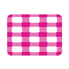 Hot Pink Brush Stroke Plaid Tech White Double Sided Flano Blanket (mini)