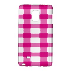 Hot Pink Brush Stroke Plaid Tech White Galaxy Note Edge by Mariart