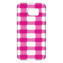 Hot Pink Brush Stroke Plaid Tech White Galaxy S6 by Mariart