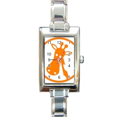 Giraffe Animals Face Orange Rectangle Italian Charm Watch by Mariart