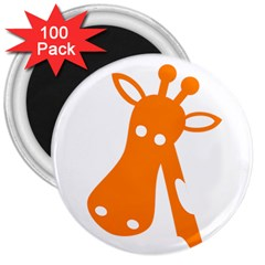 Giraffe Animals Face Orange 3  Magnets (100 Pack) by Mariart