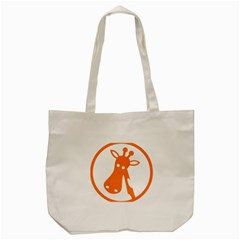 Giraffe Animals Face Orange Tote Bag (cream)