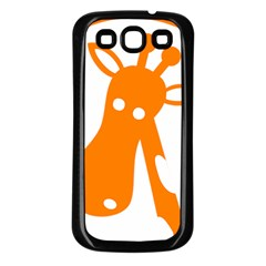 Giraffe Animals Face Orange Samsung Galaxy S3 Back Case (black) by Mariart