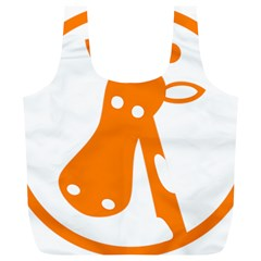 Giraffe Animals Face Orange Full Print Recycle Bags (l)  by Mariart