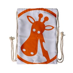 Giraffe Animals Face Orange Drawstring Bag (small) by Mariart