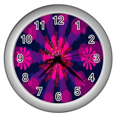 Flower Red Pink Purple Star Sunflower Wall Clocks (silver)  by Mariart
