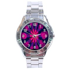 Flower Red Pink Purple Star Sunflower Stainless Steel Analogue Watch