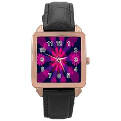 Flower Red Pink Purple Star Sunflower Rose Gold Leather Watch  by Mariart