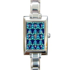 Christmas Tree Snow Green Blue Rectangle Italian Charm Watch