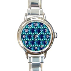Christmas Tree Snow Green Blue Round Italian Charm Watch by Mariart