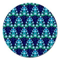 Christmas Tree Snow Green Blue Magnet 5  (round) by Mariart