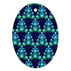 Christmas Tree Snow Green Blue Oval Ornament (two Sides) by Mariart