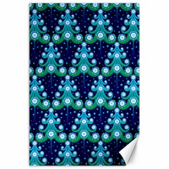 Christmas Tree Snow Green Blue Canvas 20  X 30   by Mariart
