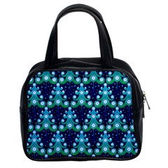 Christmas Tree Snow Green Blue Classic Handbags (2 Sides) by Mariart