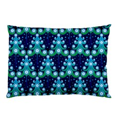 Christmas Tree Snow Green Blue Pillow Case by Mariart