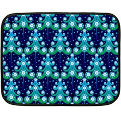 Christmas Tree Snow Green Blue Fleece Blanket (mini) by Mariart
