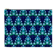 Christmas Tree Snow Green Blue Cosmetic Bag (xl) by Mariart