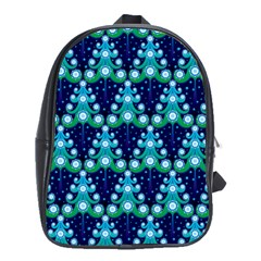 Christmas Tree Snow Green Blue School Bags(large)  by Mariart